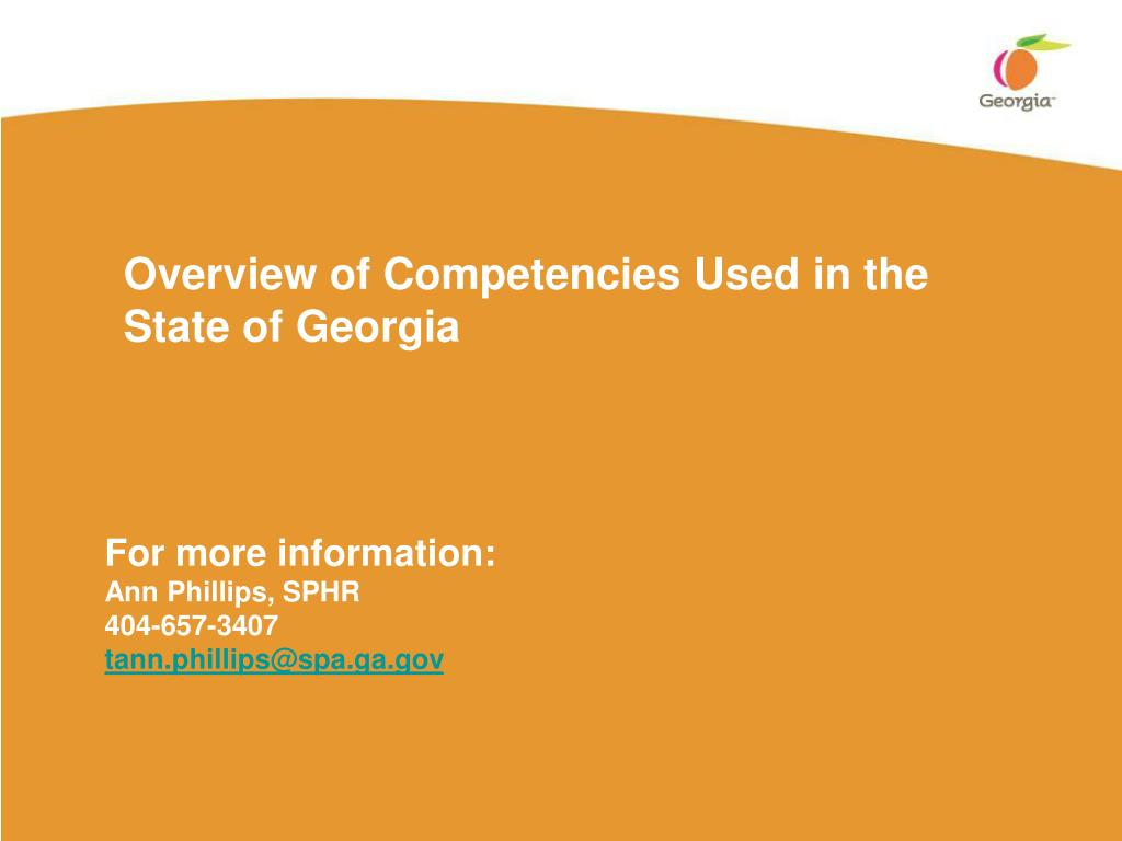 overview of competencies used in the state of georgia l.