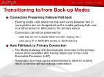 transitioning to from back up modes