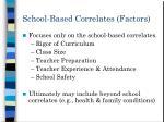 school based correlates factors