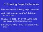 e ticketing project milestones