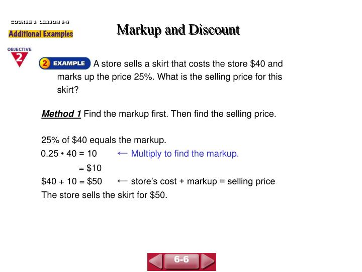 markup and discount n.