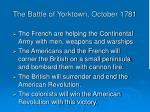 the battle of yorktown october 1781