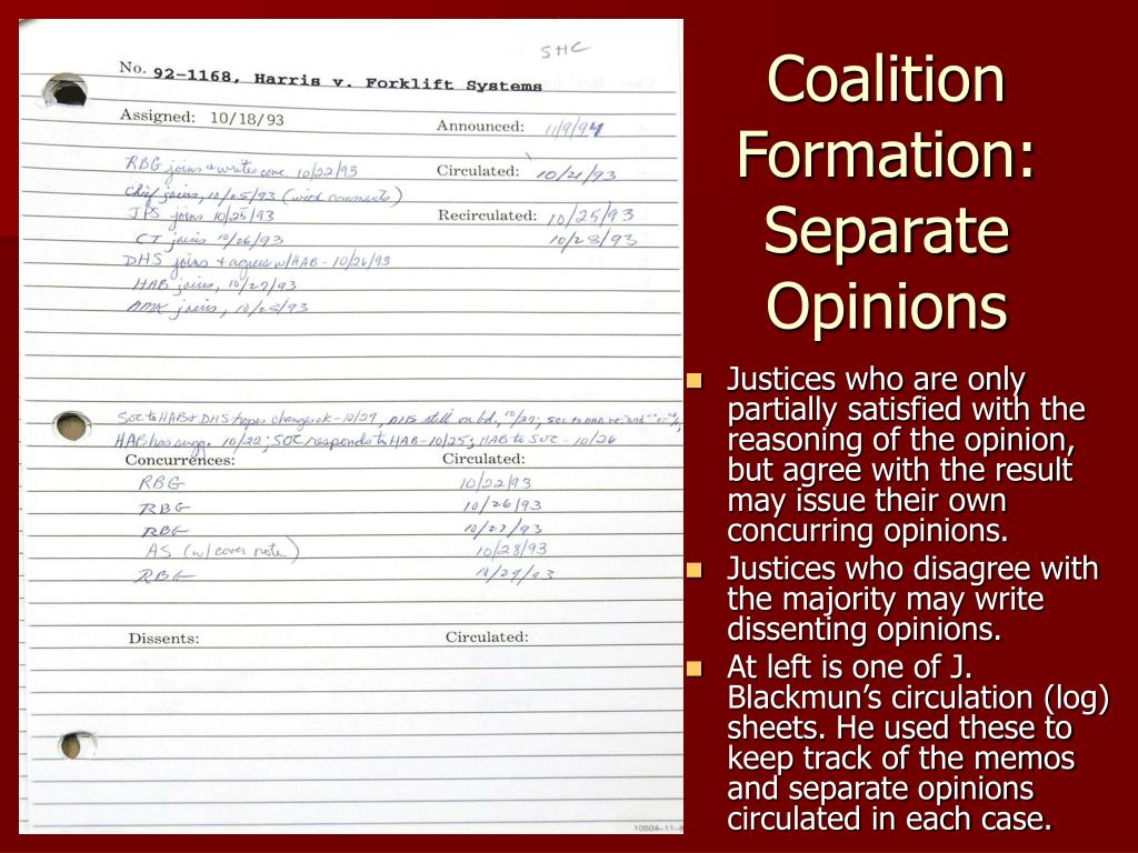 Coalition Formation: Separate Opinions