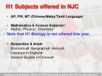 h1 subjects offered in njc