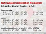 njc subject combination framework