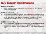 njc subject combinations