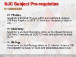 njc subject pre requisites