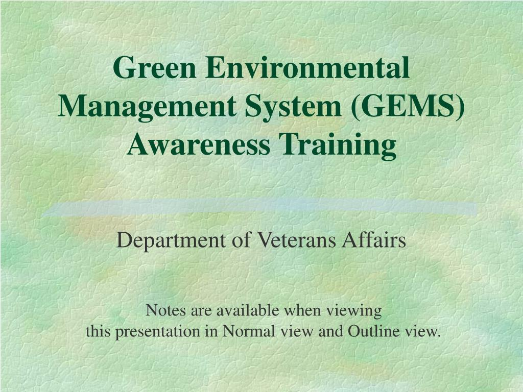 green environmental management system gems awareness training l.