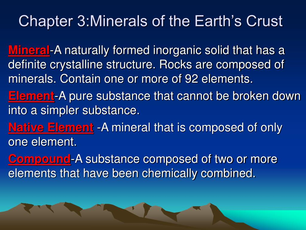chapter 3 minerals of the earth s crust l.