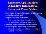 example application adaptive interactive internet team video