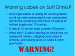 warning labels on soft drinks