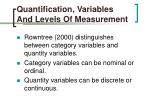 quantification variables and levels of measurement