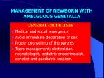 management of newborn with ambiguous genitalia