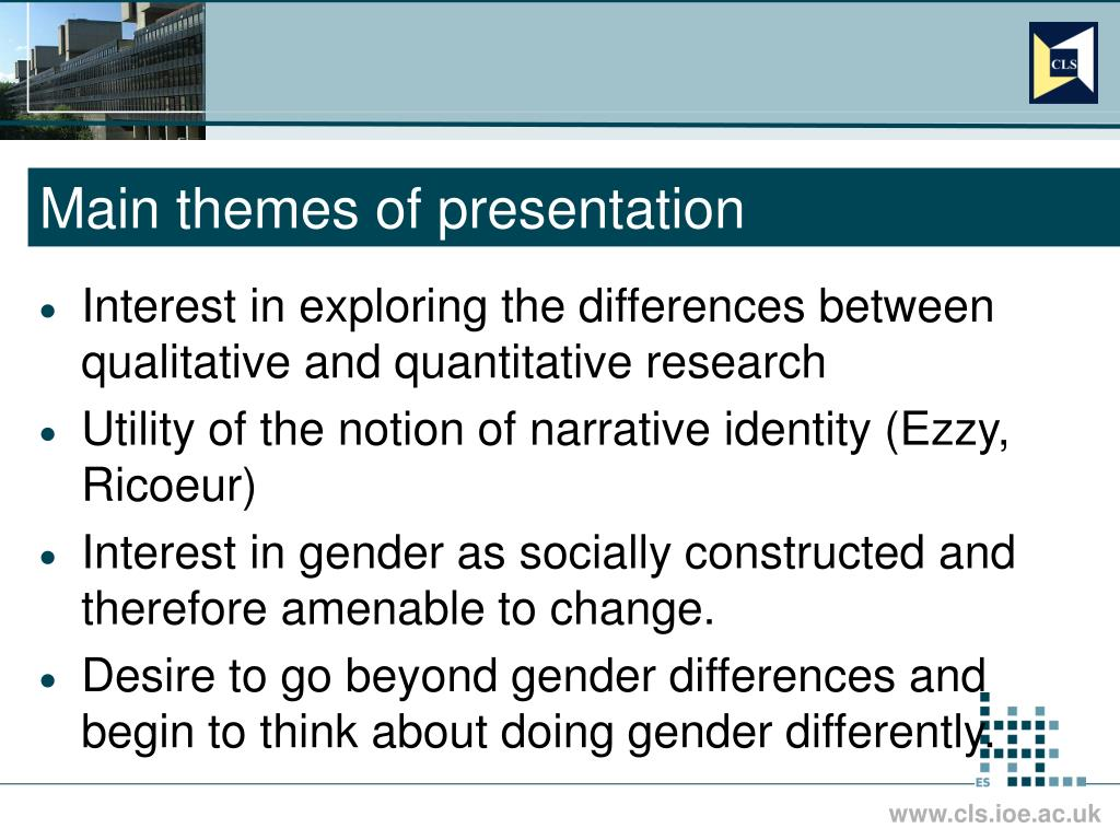 Main themes of presentation
