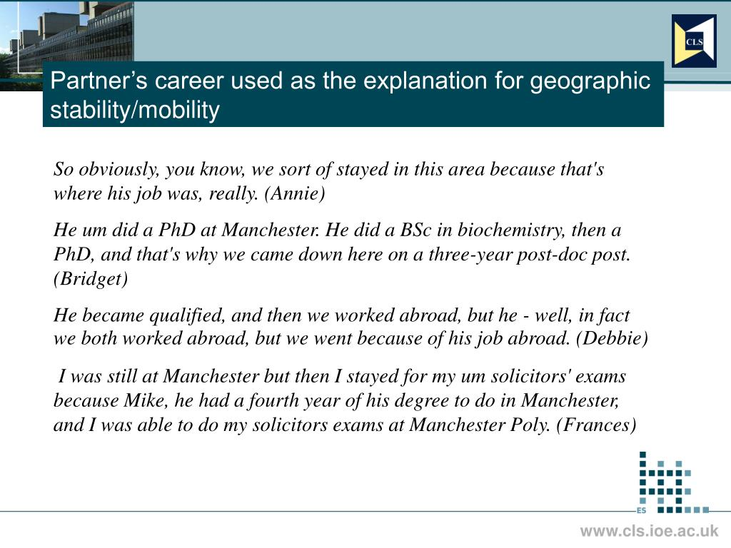 Partner's career used as the explanation for geographic stability/mobility