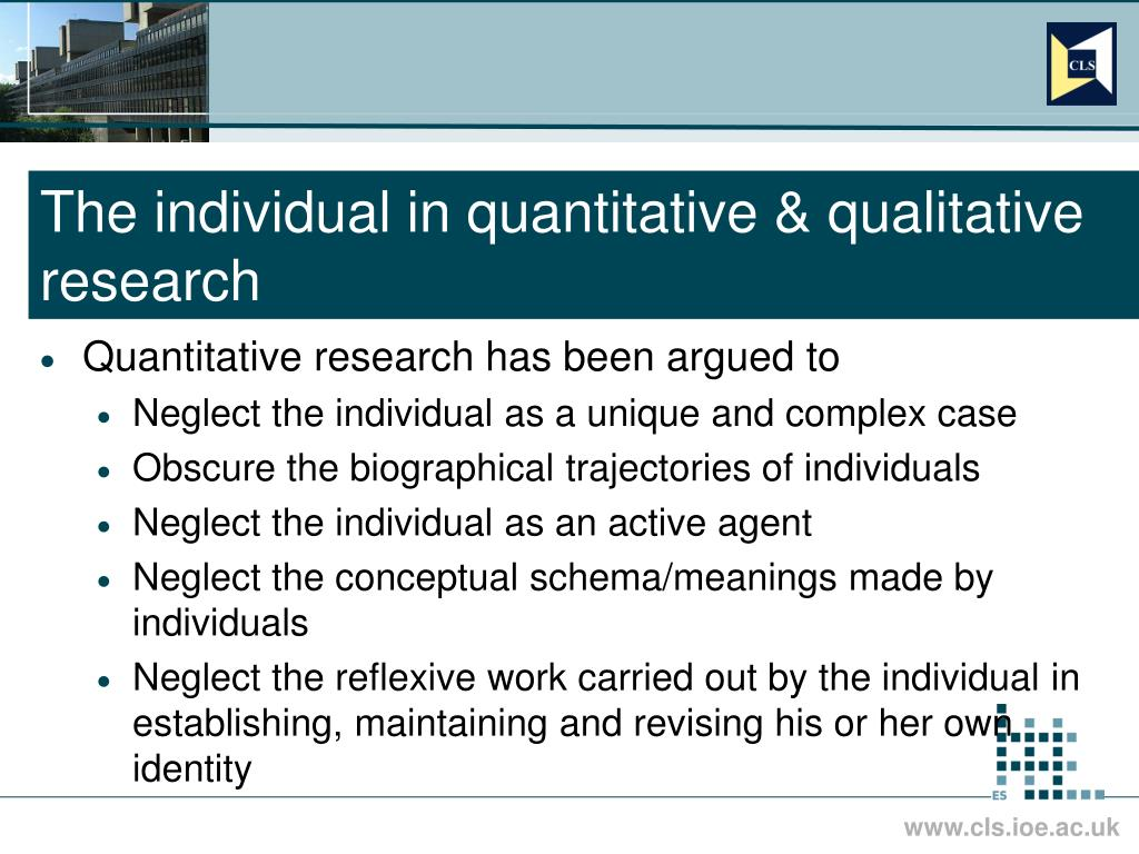 The individual in quantitative & qualitative research