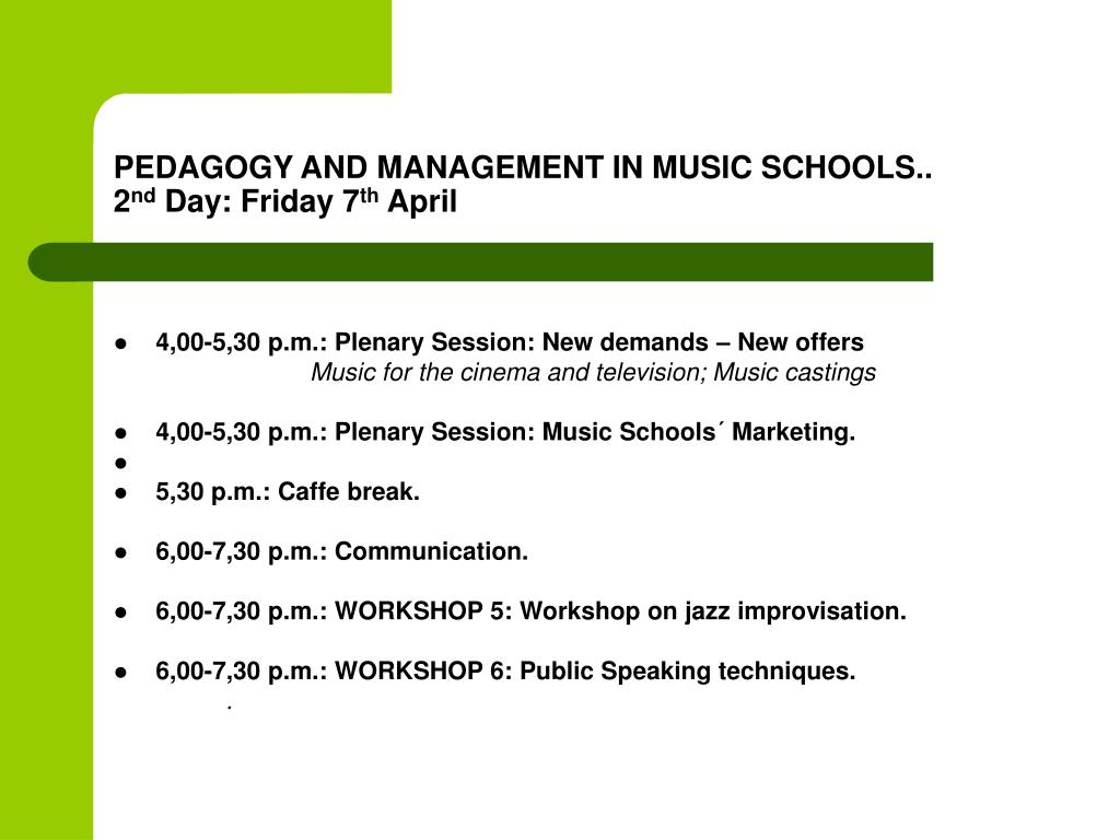 PEDAGOGY AND MANAGEMENT IN MUSIC SCHOOLS..