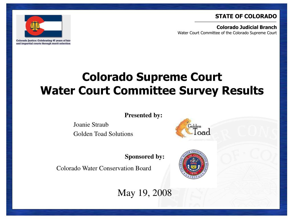 colorado supreme court water court committee survey results l.