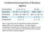 fundamental properties of boolean algebra