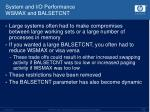 system and i o performance wsmax and balsetcnt