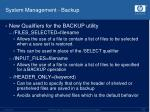 system management backup