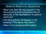 general relativity questions