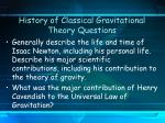 history of classical gravitational theory questions6