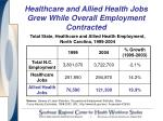 healthcare and allied health jobs grew while overall employment contracted