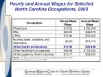 hourly and annual wages for selected north carolina occupations 2003