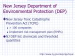 new jersey department of environmental protection dep