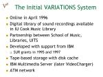 the initial variations system