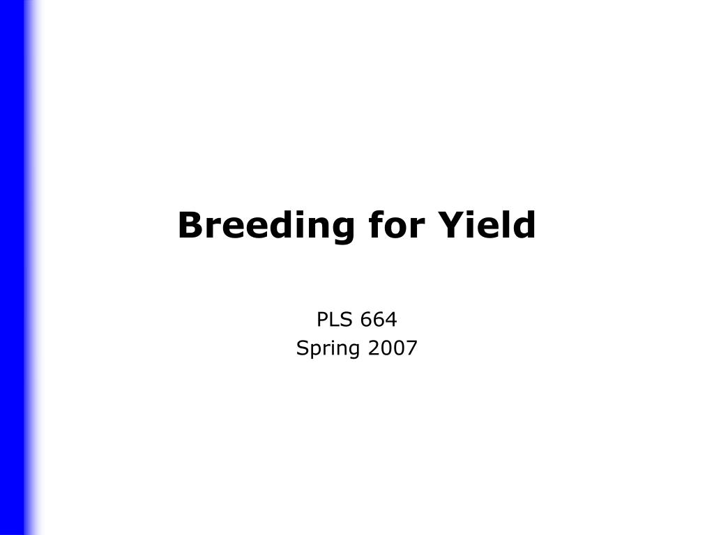 breeding for yield l.