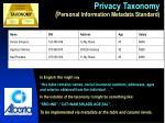 privacy taxonomy personal information metadata standard