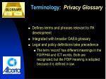 terminology privacy glossary