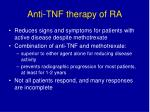 anti tnf therapy of ra