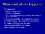 rheumatoid arthritis key points