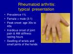 rheumatoid arthritis typical presentation
