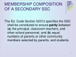 membership composition of a secondary ssc