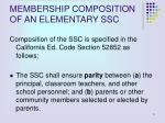 membership composition of an elementary ssc