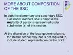more about composition of the ssc