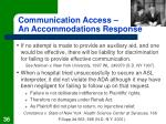 communication access an accommodations response