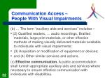 communication access people with visual impairments