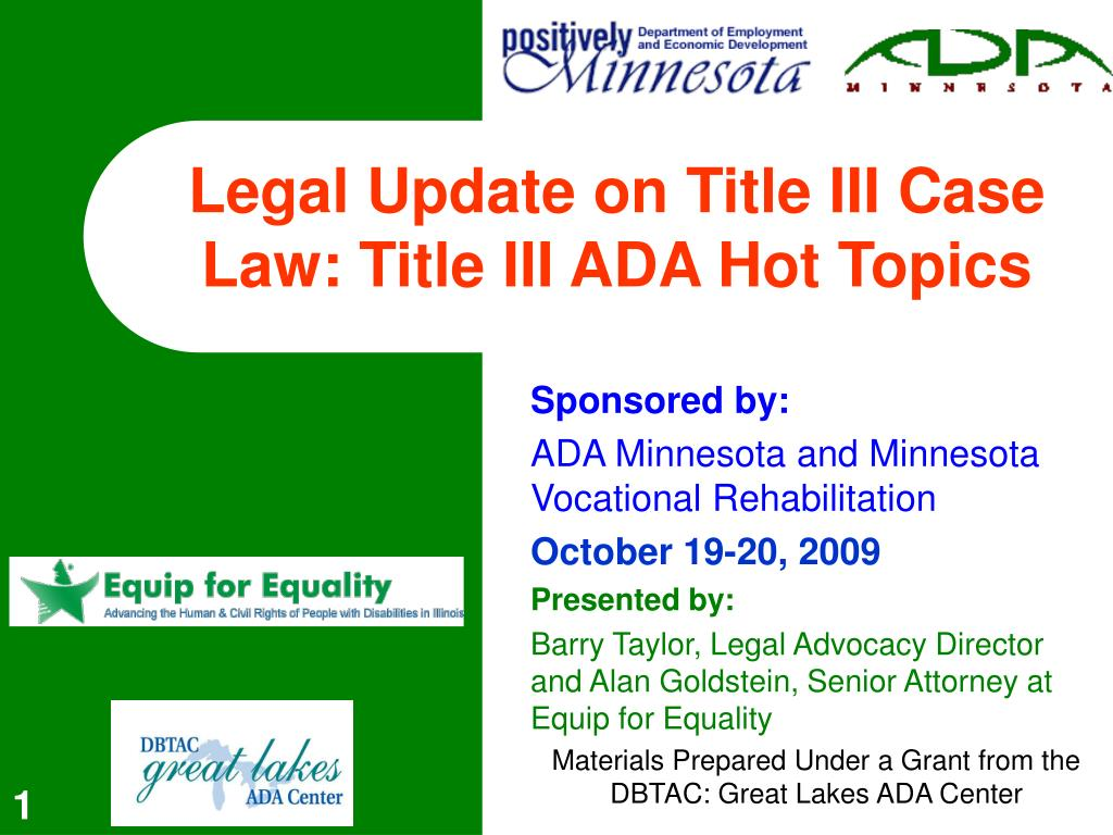 legal update on title iii case law title iii ada hot topics l.