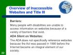 overview of inaccessible websites and title iii