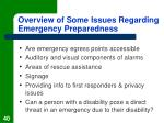 overview of some issues regarding emergency preparedness