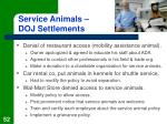 service animals doj settlements