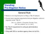 standing pre litigation notice