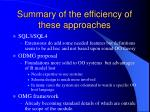 summary of the efficiency of these approaches