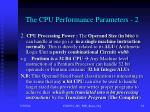 the cpu performance parameters 2
