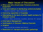 major issues of discussion